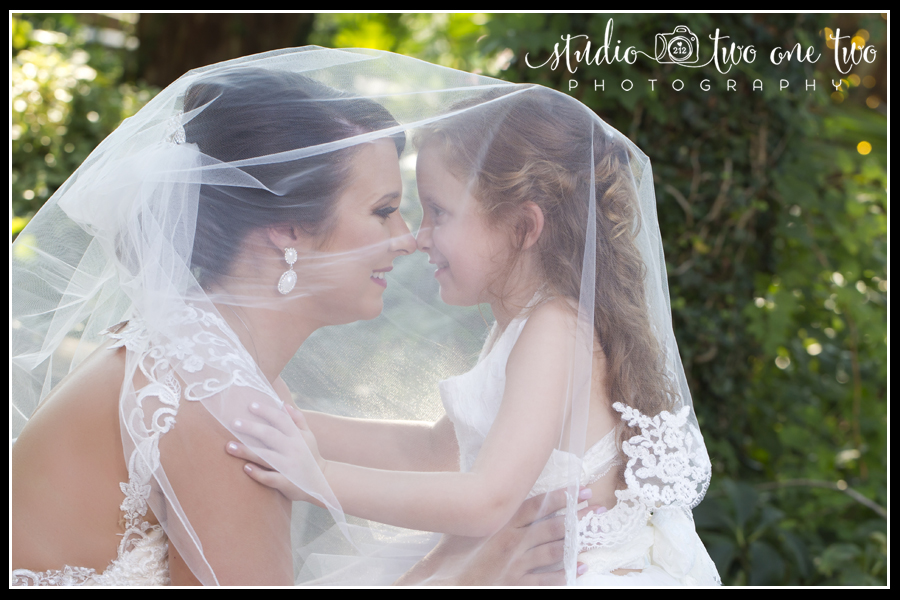 Bride and daughter under veil.