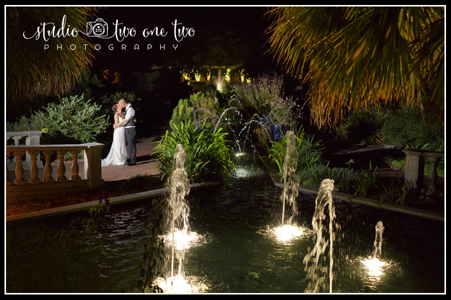 Nighttime scene with bride and groom
