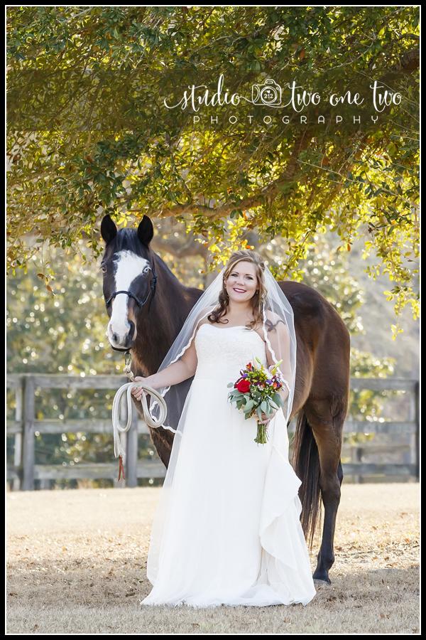 Bridal portrait with a horse